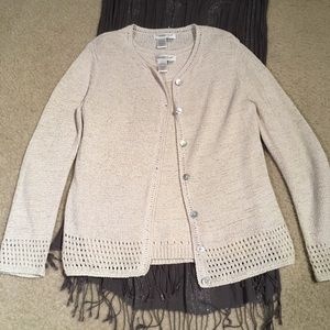 2pc Coldwater Creek Ivory cardigan sweater & shell